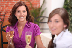 Two women in restaurant Royalty Free Stock Photo