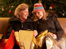 Two Women Returning After Christmas Shopping Trip Royalty Free Stock Photos