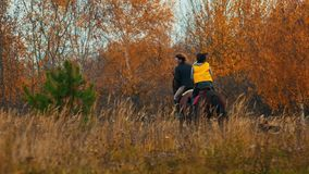 Two women riding horses in the autumn nature