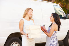 Two Women Running Catering Business With Van royalty free stock photography