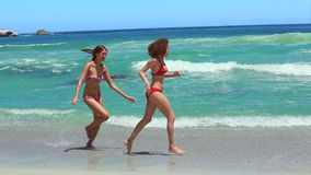 Two women running together on the beach shore. In bikinis stock video footage