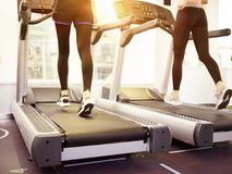 Two women running on treadmill in gym. Two young women in tight sport pants running on treadmill in gym, rear view royalty free stock images