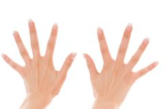 Two women's hands with fingers spread Royalty Free Stock Photos