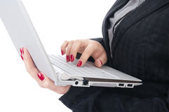 Two women's hands on the laptop Stock Photography