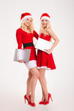 Two women in santa cloth standing with laptop computers Royalty Free Stock Photo