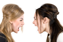 Two women scream Royalty Free Stock Photos