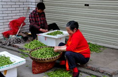 Pengzhou, China: Women Shelling Peas Royalty Free Stock Photos