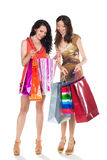 Two women shooping. Two young smiling women with a shop bags Royalty Free Stock Image