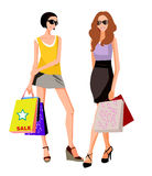 Two women in shopping. Illustration of Two Women Holding Shopping Bags Royalty Free Stock Image