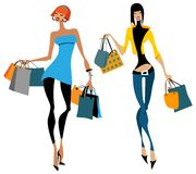 Two women with shopping bags Royalty Free Stock Photos