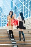 Two woman with shopping bags greeting together outdoor city stre. Two women with shopping bags greeting together outdoor city street Royalty Free Stock Photo