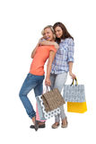 Two women with shopping bags Stock Images
