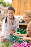 Two women shopping flowers in garden center Stock Photography