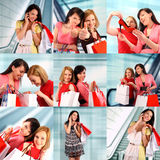 Two women shopping royalty free stock photography