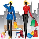 Women on shopping Royalty Free Stock Images