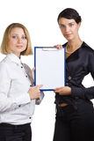 Two women are shown on the clipboard Royalty Free Stock Image