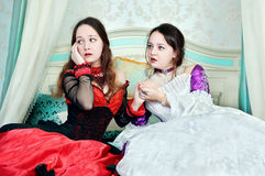Two women sisters in medieval dresses Royalty Free Stock Photography