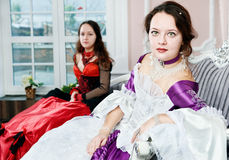 Two women sisters in medieval dresses Royalty Free Stock Photos