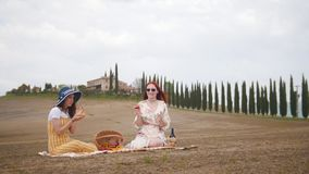 Two women sitting on the blanket having a picnic and eating fruits stock footage