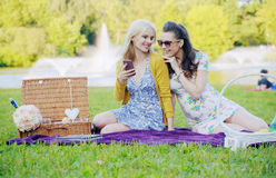 Two women sitting on the blanket and texting Royalty Free Stock Photography