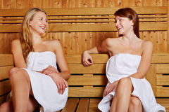 Two women sitting in sauna Royalty Free Stock Image