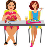 Two women sitting at the table and eat different dishes. Vector illustration of two women sitting at the table and eat different dishes Stock Photos