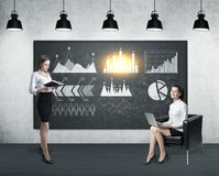 Two women and six graphs stock images