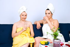 Two women  at daily spa center Stock Images