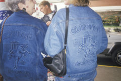 Two women sport victory jackets for Clinton Stock Photos