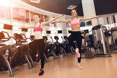 Two women doing aerobical exercises at the gym. They look happy, fashionable and fit. Two women in sportswear doing aerobical exercises at the gym. They look Royalty Free Stock Image