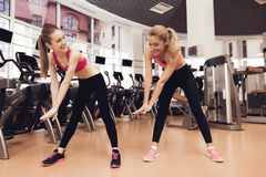 Two women doing aerobical exercises at the gym. They look happy, fashionable and fit. Two women in sportswear doing aerobical exercises at the gym. They look Stock Image