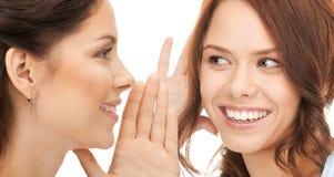 Two women spreading gossip. Bright picture of two woman spreading gossip Stock Photos
