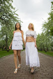 Two women at spring Royalty Free Stock Photos
