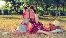 Two women spying. Two spy girl hiding face behind the book pin-up Royalty Free Stock Photo