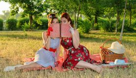 Two women spying. Two spy girl hiding face behind the book pin-up Royalty Free Stock Images