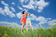 Two women standing on summer field. Two beautiful young women standing on summer field enjoying wind wave stock photos