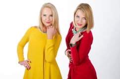 Two women standing, in yellow and red dresses Royalty Free Stock Photography