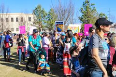 Native Americans partipate in Womens March in Tulsa Oklahoma USA 1-20-2018 stock images