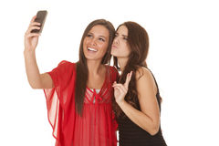 Two Women Take Picture Of Selves Peace Royalty Free Stock Photo