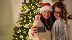 Two Women Taking a Selfie Having Fun at Home. Brunette Sisters Using Smartphone and Photographing Themselves on stock footage