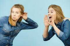 Two women telling tales, rumors gossip royalty free stock photo