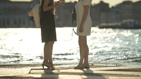 Two women talking on pier in Venice, reflections on water, magic hour in city. Stock footage stock video