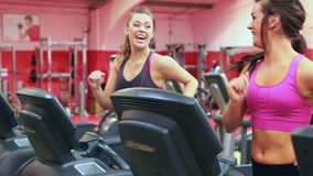 Two women talking while running on treadmill. In gym stock footage