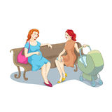 Two women talking sitting on bench. Vector illustration of pregnant woman and a woman with a stroller talking sitting on bench.  on white background Royalty Free Stock Photos
