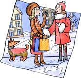 Two women talking at the winter street. Woman holding shopping bags talking to a woman who was walking a dog. Winter season. Watercolor and ink illustration Stock Images