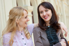 Two women talking Stock Images