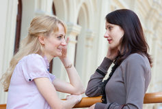 Two women talking Stock Photography