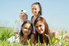 Two women with teens Royalty Free Stock Images
