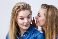 Two women telling tales, rumors gossip royalty free stock photography