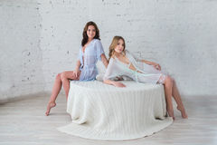 Two women in their underwear Royalty Free Stock Image